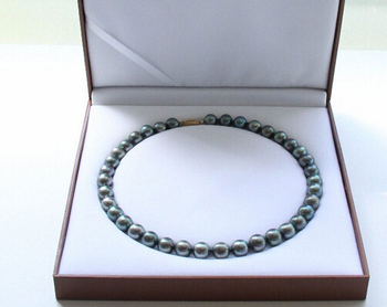"""Miss charm Jew1044 Genuine AAA 17"""" 11-12mm peacock black round pearls necklace 14K clasp"""