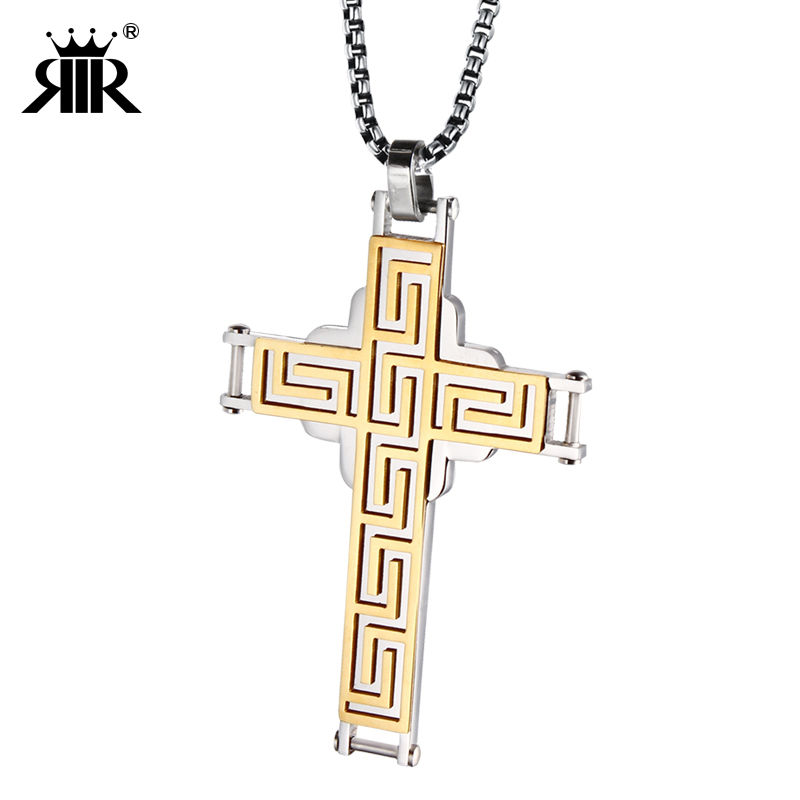 The Great Wall lines Egypt Cross Pendant Necklaces Praying Christ Jesus prayer Christmas Gift For Men Holy Bible Jewelry