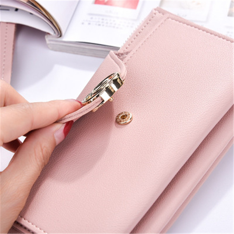 Sweet button handbag large zipper clutch High-quality leather Change bit mobile phone package womens wallet