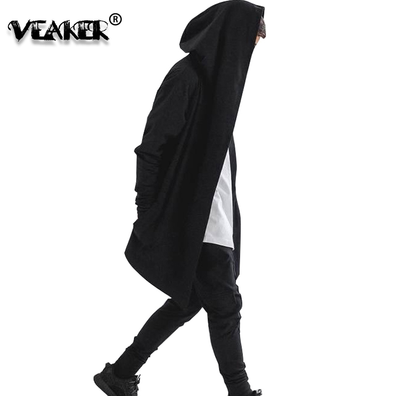 2018 Mens Hip Hop Hoodies Sweatshirts Men Black Mantle Cloak Hooded Gown Jacket Long Sleeve Coat Streetwear Hoodie Plus Size 3XL