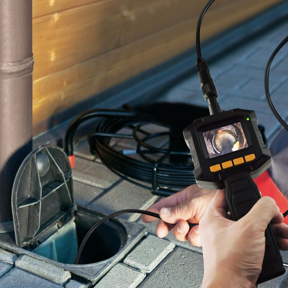 Industrial 2.31 TFT LCD 8mm Camera Video Borescope Endoscope 4 LED Lights AV Output SnakeScope 3FT Cable Surveillance Tool