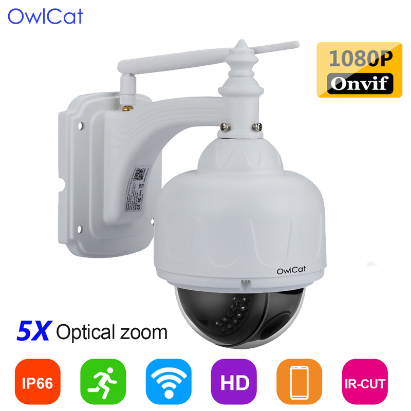 869f7901cd1 OwlCat HD 1080P SONY323 WIFI Dome IP Camera Wireless IR PTZ CCTV Microphone  Audio Memory slot x5 Opticl Zoom Outdoor Waterproof
