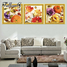 FULLCANG 3 piece diy diamond embroidery flower butterfly triptych painting full square/round drill 5d mosaic pattern art FC661