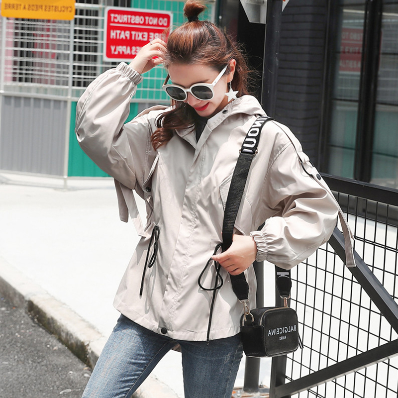FTLZZ New Loose   Trench   Coat Spring Autumn Women's Hooded Windbreaker Outerwear Female Casual   Trench   Coat