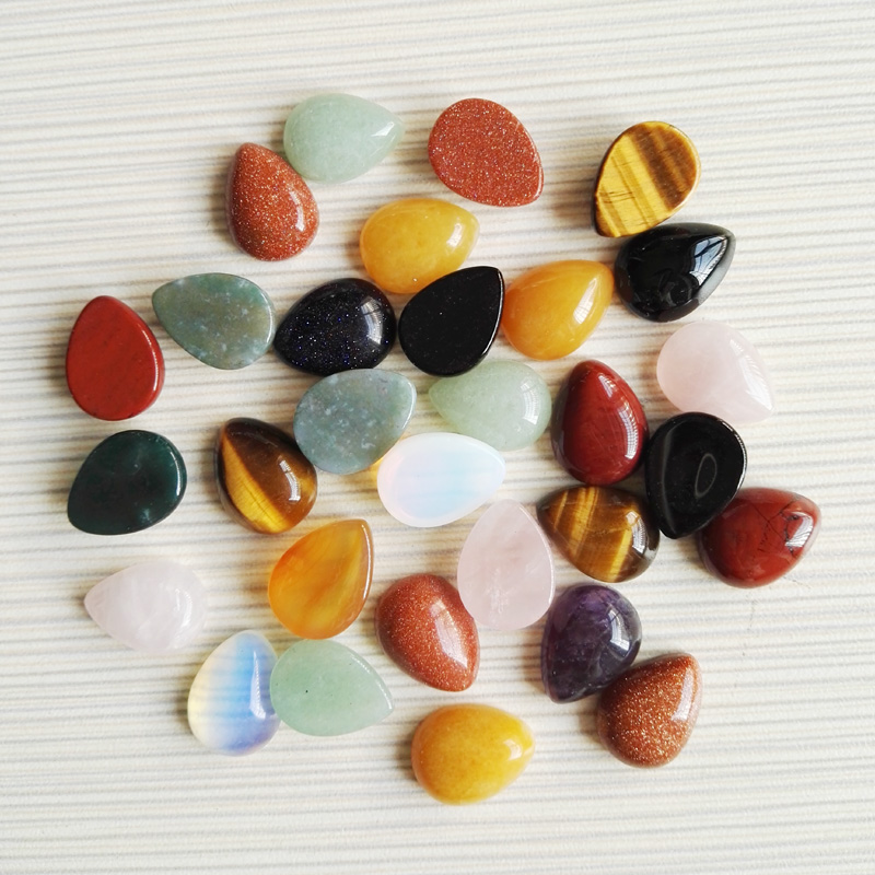Fashion Natural stone beads Teardrop cab cabochon mixed 10x14MM water drop for jewelry making 50Pcs/lot Free shipping wholesale