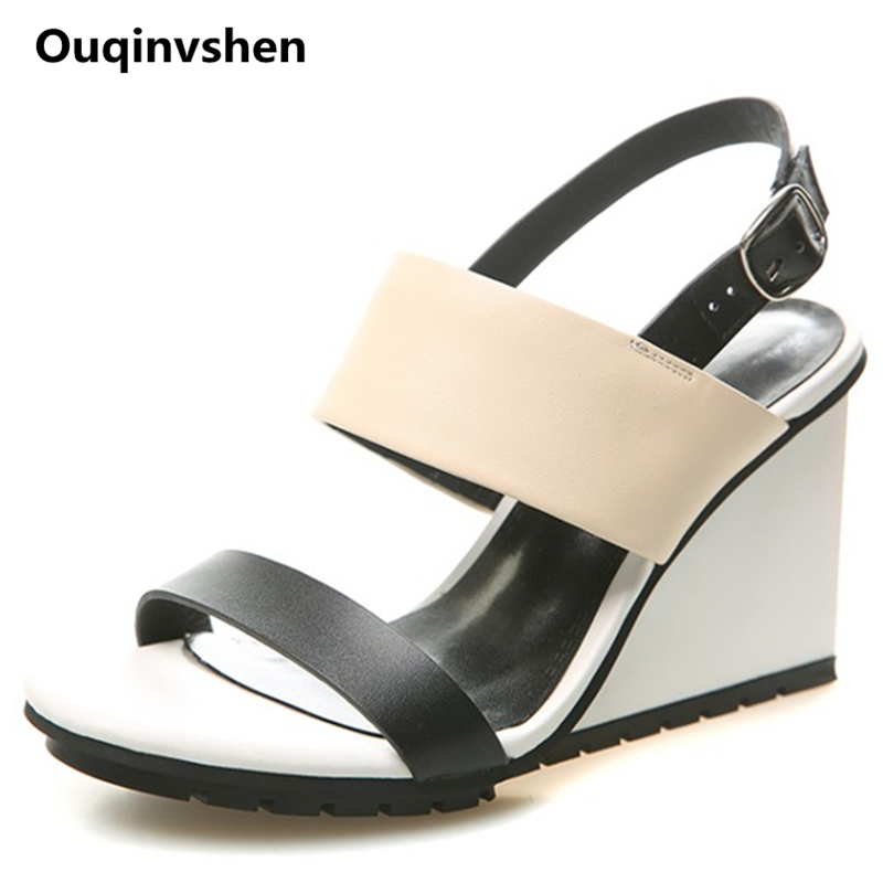 Ouqinvshen Mixed Colors Wedge Sandalen Apricot Mode echt leer Peep - Damesschoenen