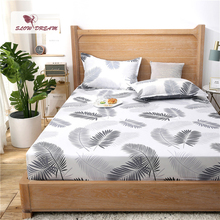 Slowdream 1PCS Nordic Leaf Bed Fitted Sheet Double Single Size Mattress Covers On Elastic Band With Rubber Linen