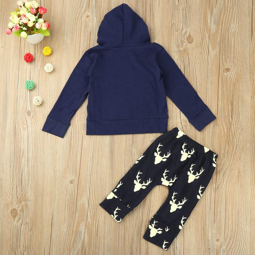 Baby Boy Clothing Toddler Infant Baby Boy Hooded Letter Blouse Tops +Pants Outfits Clothes Set M1