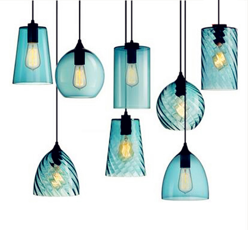 E27 Lamp Cord Modern 7 Style Industrial Colourful Glass Ball Led Pendant