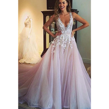 V Neck Tulle Wedding Dresses Applique Open Back Sleeveless A Line Floor Length Cathedral Train Bridal Dress Vestido De Noiva