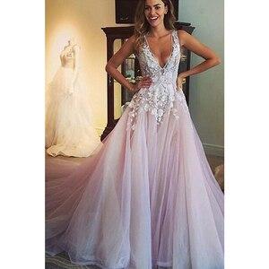 Image 2 - V Neck Tulle Wedding Dresses Applique Open Back Sleeveless A Line Floor Length Cathedral Train Bridal Dress Vestido De Noiva