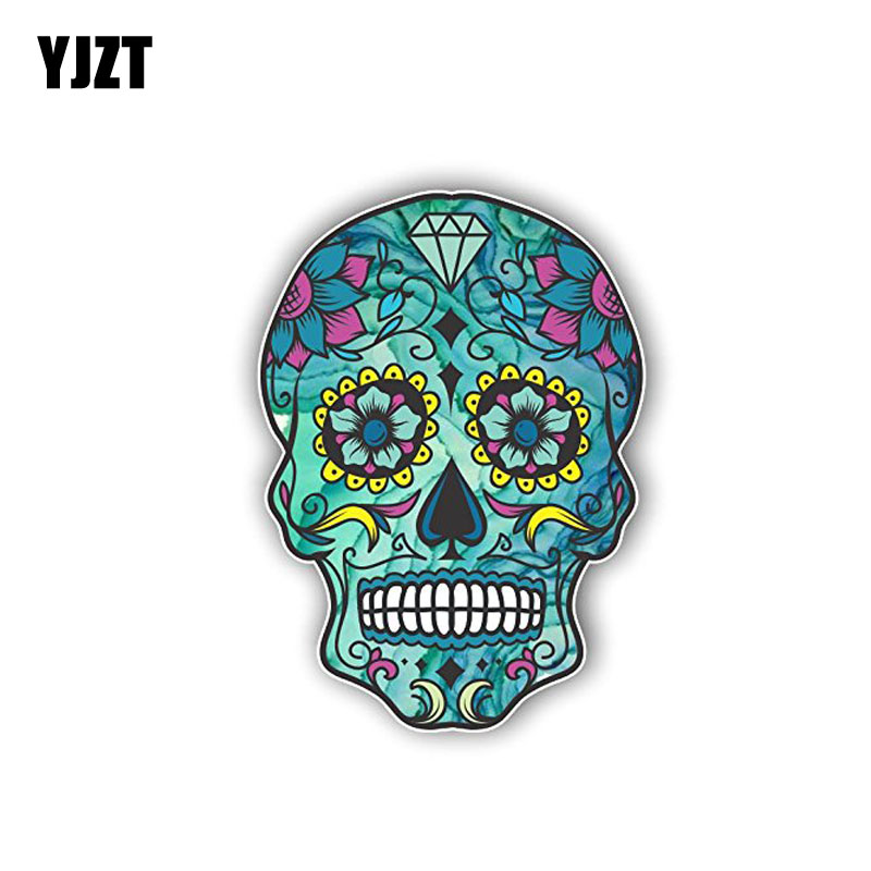 YJZT 10.2CM*7.3CM Creative Sugar Dead Skull  Funny Car Sticker Decal PVC  6-0146