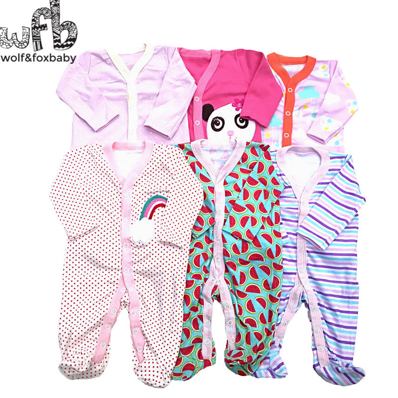 Retail 3pcs lot 0 12months long Sleeved Baby Infant cartoon footies bodysuits for boys girls jumpsuits Clothing newborn clothes in Rompers from Mother Kids