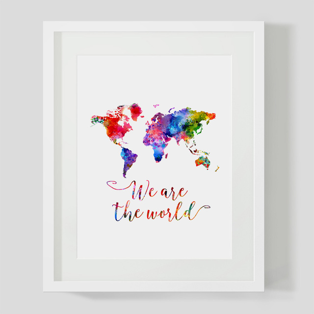 Watercolor world map wall art print we are the world quotes nursey watercolor world map wall art print we are the world quotes nursey home decor map colorful gumiabroncs Image collections
