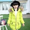 Gran chaqueta de las muchachas abajo de invierno ropa de los niños Coreanos Niñas niños chaqueta abajo Chaqueta Larga