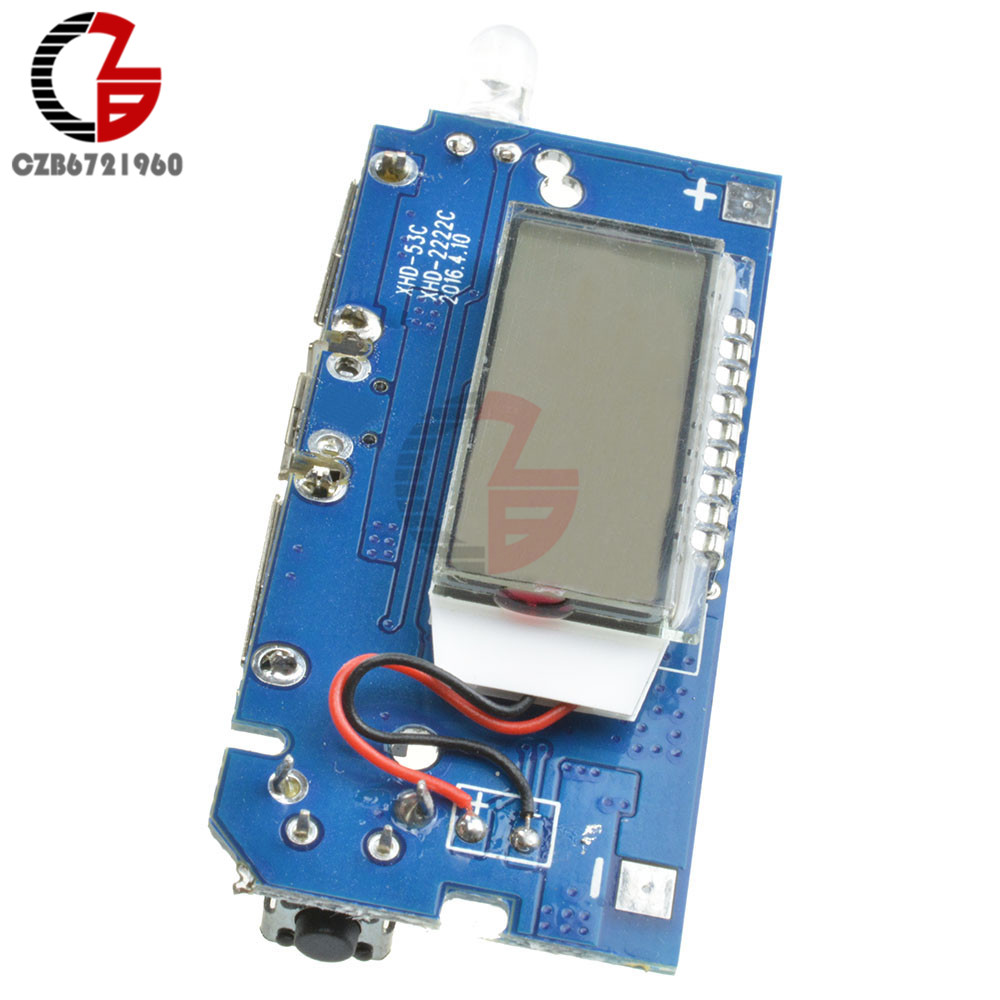 Dual USB 18650 Lithium Battery Charging Board Mobile <font><b>Power</b></font> <font><b>Bank</b></font> Charging Module <font><b>PCB</b></font> Board LCD Display for Arduino DIY 5V 1A 2.1A image