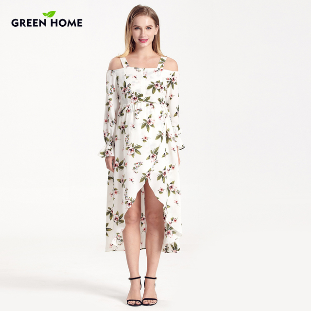 Green Home Stretch High Waist Floral Printing Maternity Dress ...