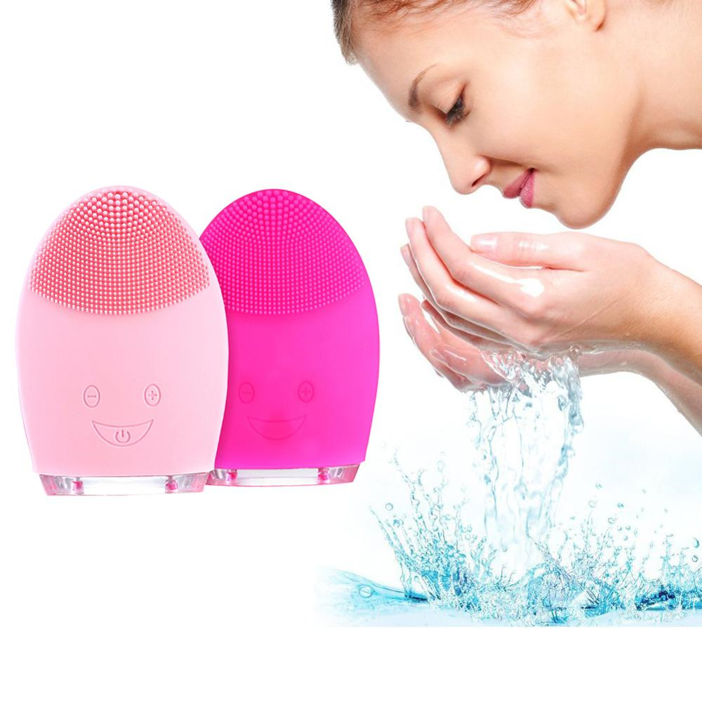 Sonic Vibration Mini Face Cleaning Brush Electric Massage Brush Waterproof Silicone Deep Pore Facial Cleansing Tools