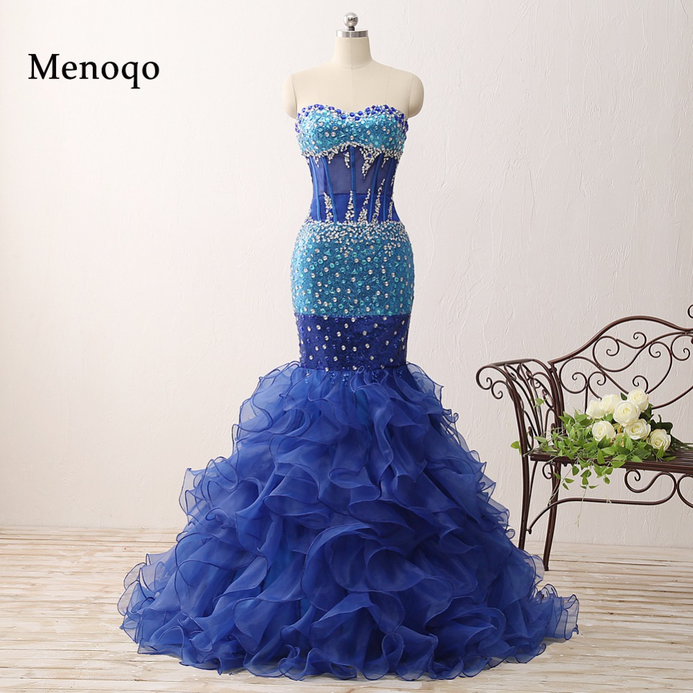 Actual Images Gorgeous Mermaid Sweetheart Beaded Ruffle Organza Blue Long Evening Dresses Court Train 0206 PRD