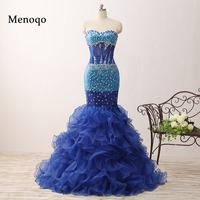 Actual Images Gorgeous Mermaid Sweetheart Beaded Ruffle Organza Blue Long Evening Dresses 2018 Court Train 0206 PRD
