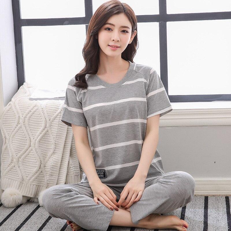 QWEEK 2019 Summer Women   Pajamas     Sets   Cotton Pyjamas Women Sleepwear Large Size Casual Home Wear Pijama Mujer 2 Pieces   Sets