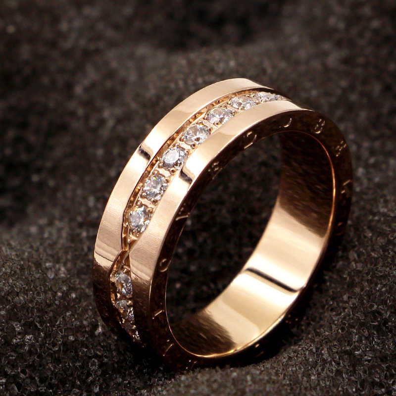 Top Quality Titanium Steel Carving BELOVE Micro Inlaid Zircon Rose Gold Colour Ring Brand Wedding Jewelry Love Ring For Woman