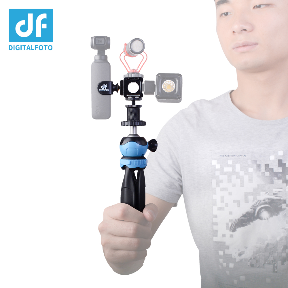 OP-MI DJI OSMO Pocket Gimbal Accessory three Cold Shoe Mount System for OSMO POCKET with Table Tripod Vlog Youtube LED MIC