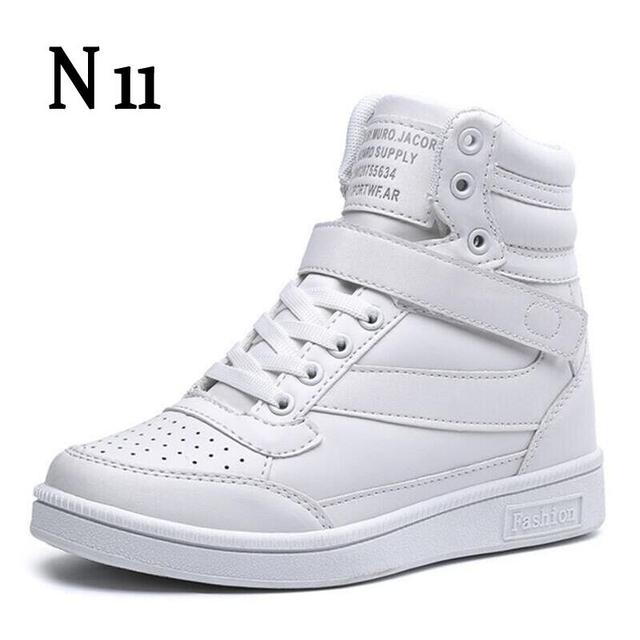 N11 New 2017 Spring Autumn Ankle Boots Heels Shoes Women Casual Shoes Height Increased High Top Shoes Mixed Color Winter Boots