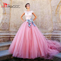 New Arrival Elegant Disney Princess Ball Gown Scoop Arabic Evening Dresses Applique Puffy Saudi Style Sexy Prom Gown Pink Sleeve
