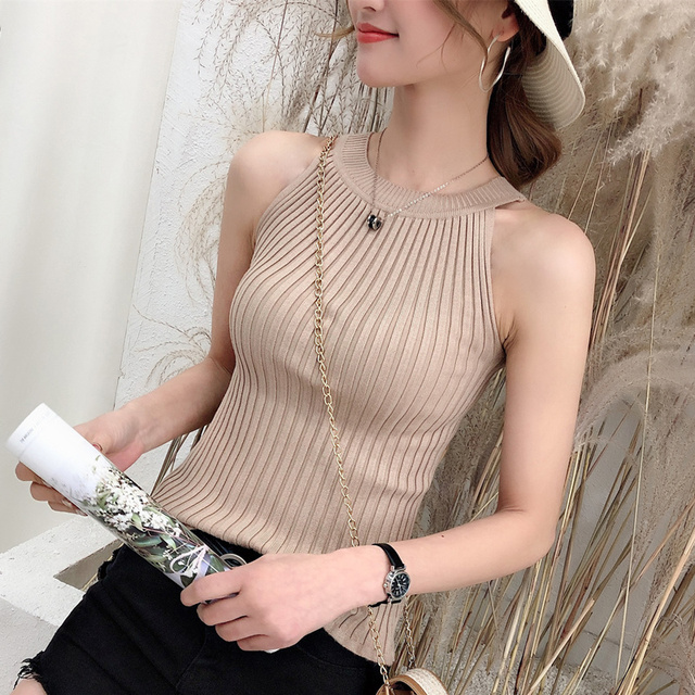 11242 Real-time photo of new round collar pure-color knitted suspender vest 15 6
