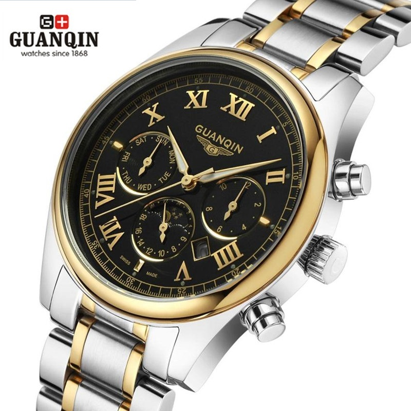 ФОТО High Quality Original GUANQIN Men Watch Top Brand Luxury Tag Watch Men's Shockproof Waterproof Stainless Steel Watch Men Clock