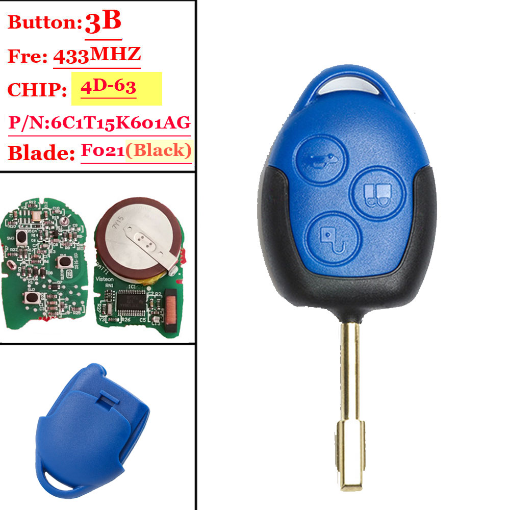Nach markt 433 mhz 4D63 Chip P/N: 6C1T15K601AG 3 Taste Remote Auto Key Fob für Ford Transit WM VM Mit Schwarz Klinge FO21