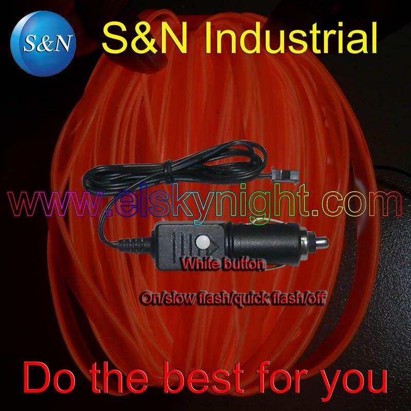 DC12V Cigar Plug El  Controller/driver/inverter+3meter Orange El Wire With Skirt /flat Edge For Car Decoration Free Shipping