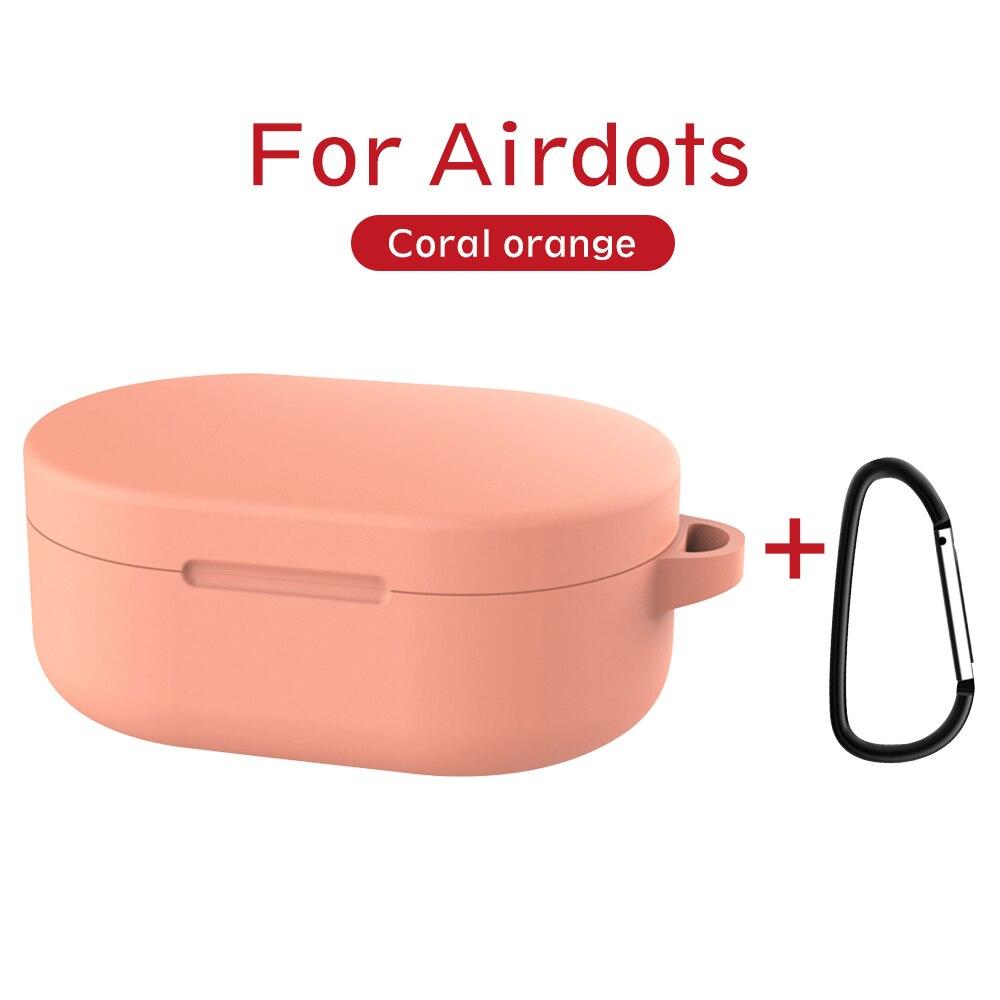 Силиконовый чехол с пряжкой для Red mi AirDots Air dots, чехол, беспроводной Bluetooth чехол s, мягкий ТПУ чехол - Цвет: Coral Orange
