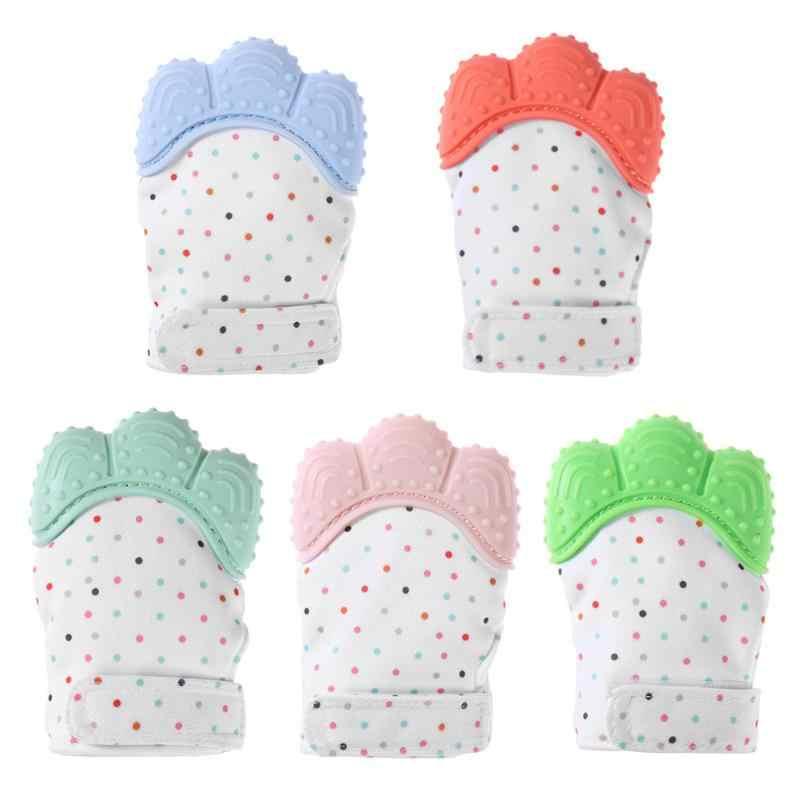Детские Силиконовые варежки перчатка для режущихся зубов перчатка конфетная обертка звуковые Прорезыватели игрушки подарки Новорожденные медсестры варежки Прорезыватель сосание пальцев