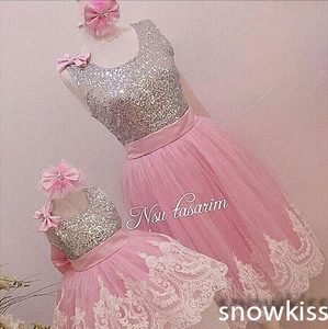 Image 2 - Sliver Bling Sequin Pink White Lace Backless flower girl dresses with Bow baby Birthday Party Dress wedding occasion ball gowns