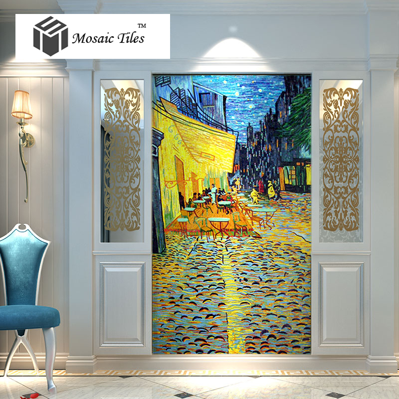 bisazza style mosaic murals glass colorful hand made parquet wall stickers puzzle deco art van gogh oil painting the night cafe on aliexpresscom alibaba