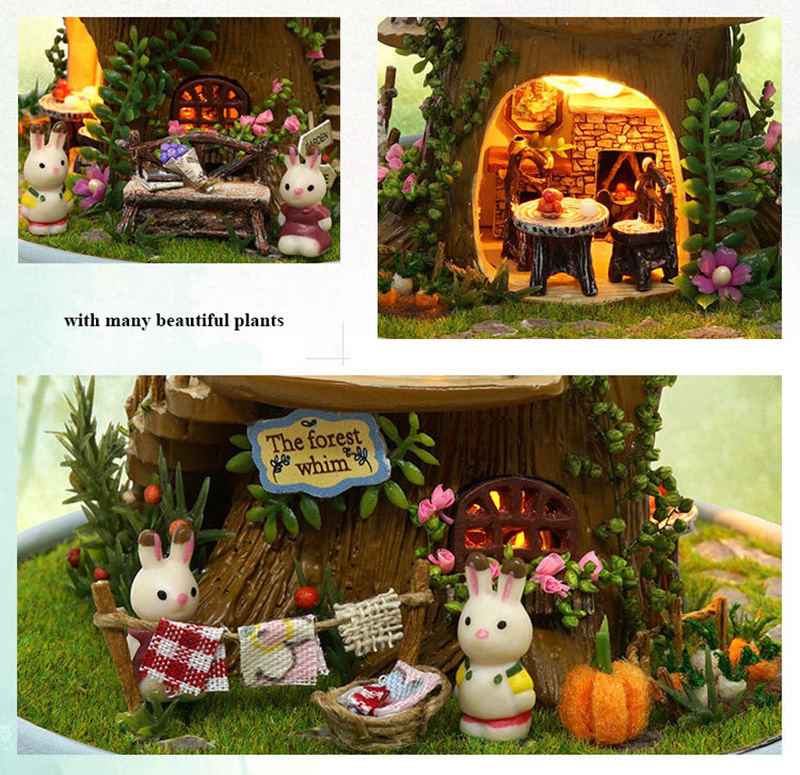 DIY Dollhouse Rotate Music Box Miniature Assemble Kits Doll House With Furnitures Wooden House Toys for Children Birthday Gift (9)