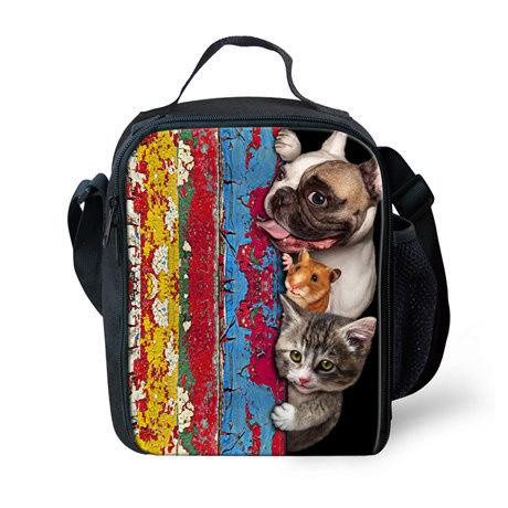 2016 Niños Bolsa de Almuerzo Bolsa de Picnic Estilo Lonchera Térmica bolsas para Niños Lunchbags Pug Dog Impresión Niñas Bolsa Lancheira almuerzo