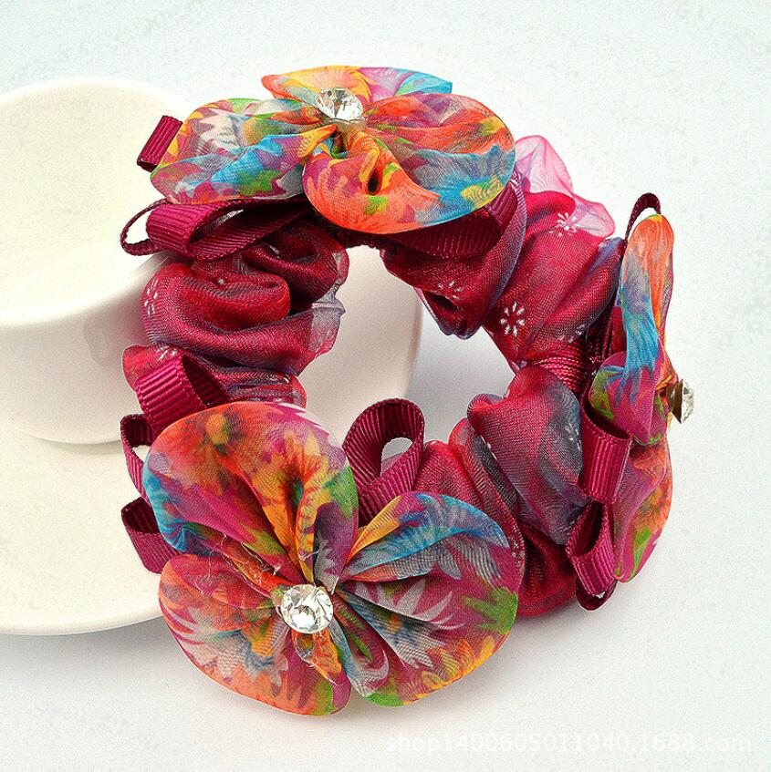 1Piece Hair Accessories for girl amp women hand made Hair Rope Super Elastic Headbands chiffon Ponytail Scrunchie Free shipping in Women 39 s Hair Accessories from Apparel Accessories