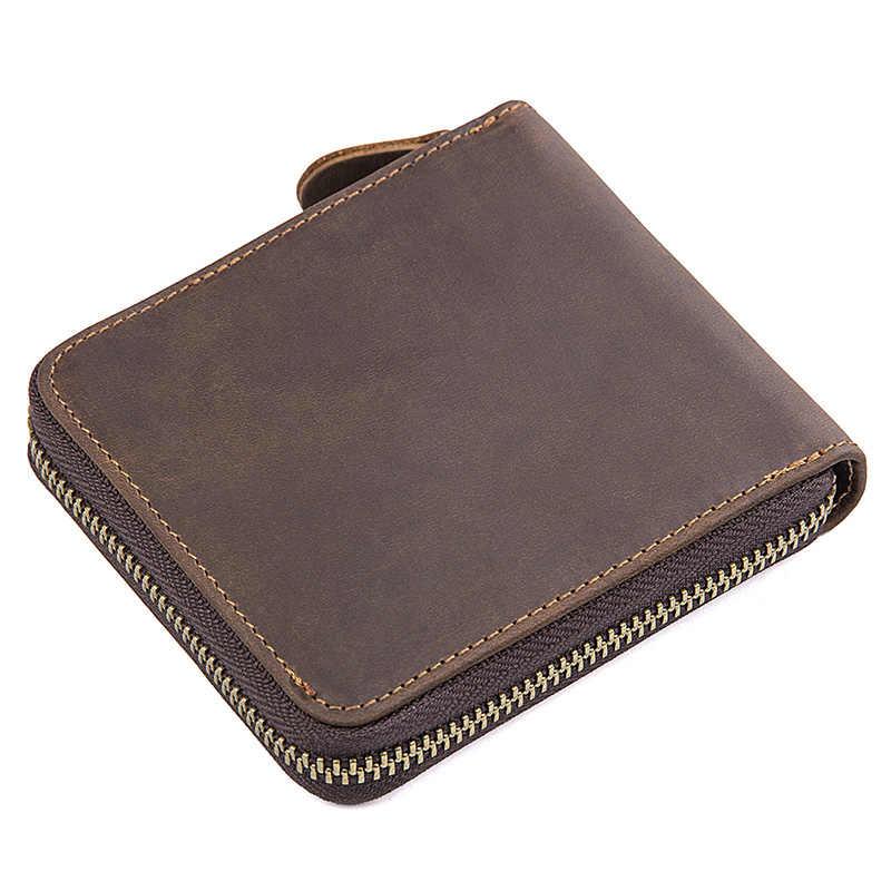 Augus nuevas llegadas cuero genuino Color marrón moda monedero ID tarjeta titular moneda bolsillo dinero titular R-8169R