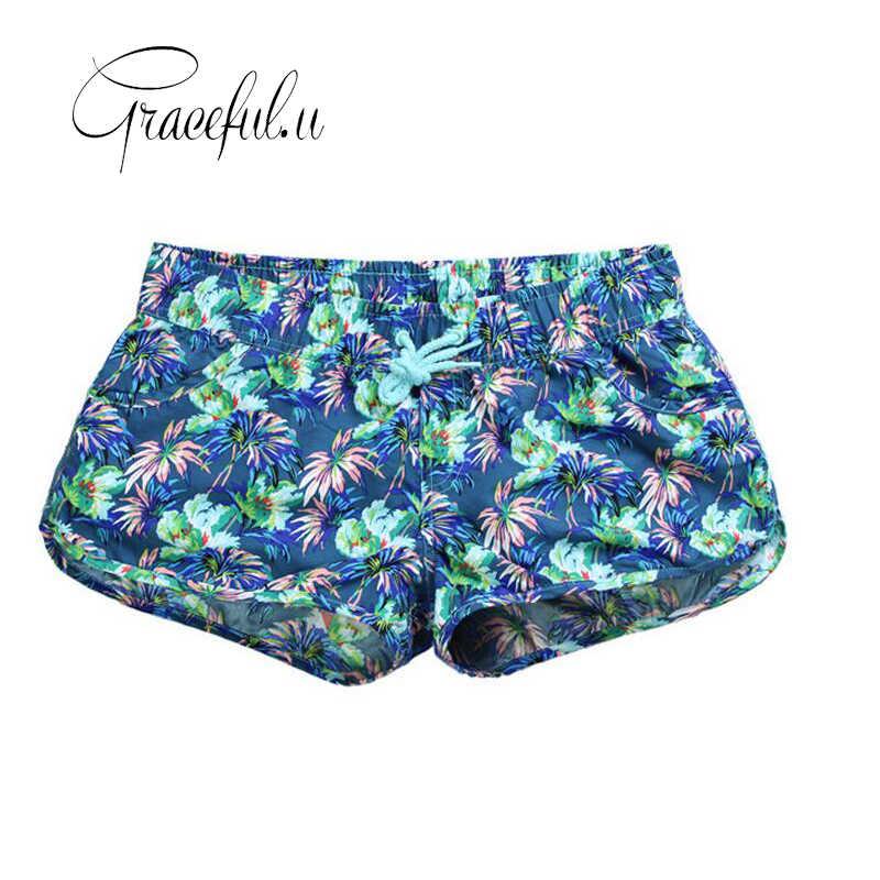 e5f13e7dcdd04 2019 Summer Womens Swimming Shorts Floral Quick-dry Women Beach Shorts Plus  Size Beach Wear