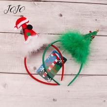 JOJO BOWS 1pc Christmas Headband Tree Jingle Bell With Plush Pompom Hair Band For Kid Girl Holiday Headwear Head Hoop