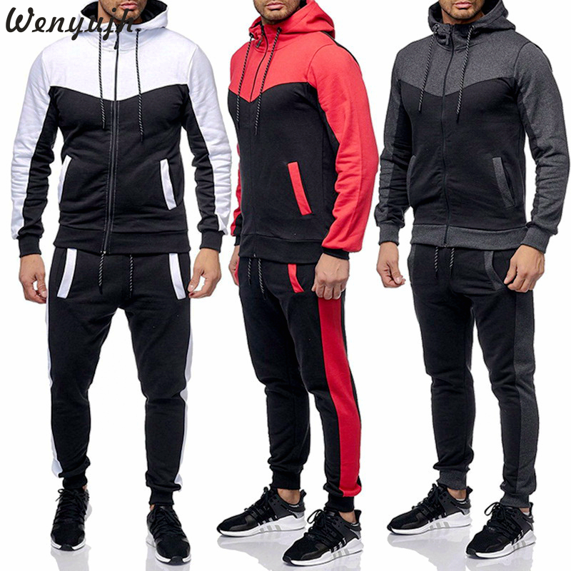 Wenyujh Men Patchwork Autumn Casual Suits Cotton Sportwear Zipper Tracksuit Hooded Two Pieces Mens Hooded Hip Hop Colorblock Set(China)