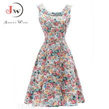 2018 Sexy Party Dresses Women Summer Dress Tunic Casual Retro Rockabilly Floral Print robe femme Vintage