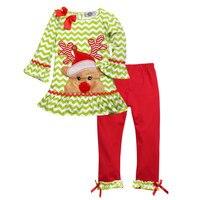 Yeni Sonbahar Çocuk Moda Setleri Pamuk Elk Noel Kıyafet Hediye Kız giysi Toddler Butik Kıyafetler Kış Bebek Kız Için Uygun