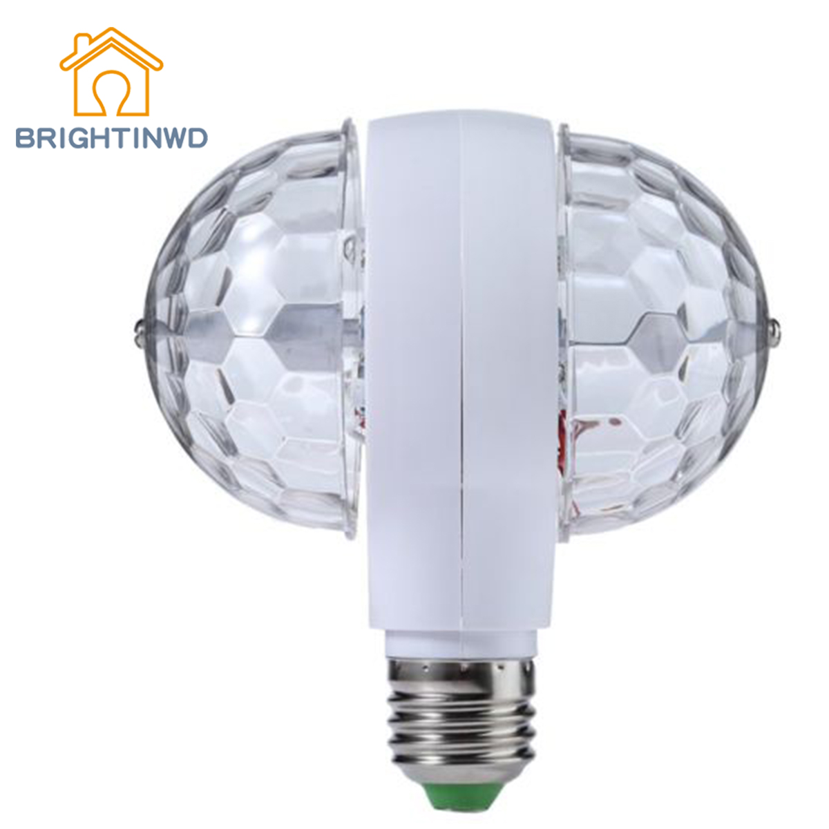 BRIGHTINWD Disco Stage Light RGB E27 LED Lights Crystal Ball Bulb 2-Head Rotating Party Xmas Lamp