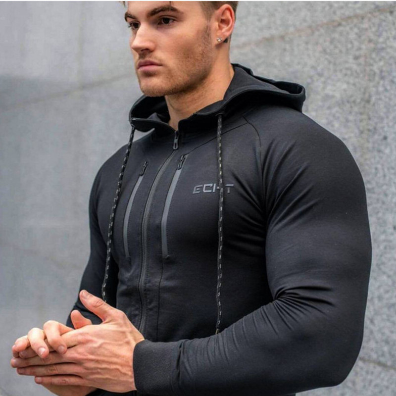 Hoodies Gym Sweatshirt Jacket Fitness Training Bodybuilding Sport Male Men Outdoor Brand