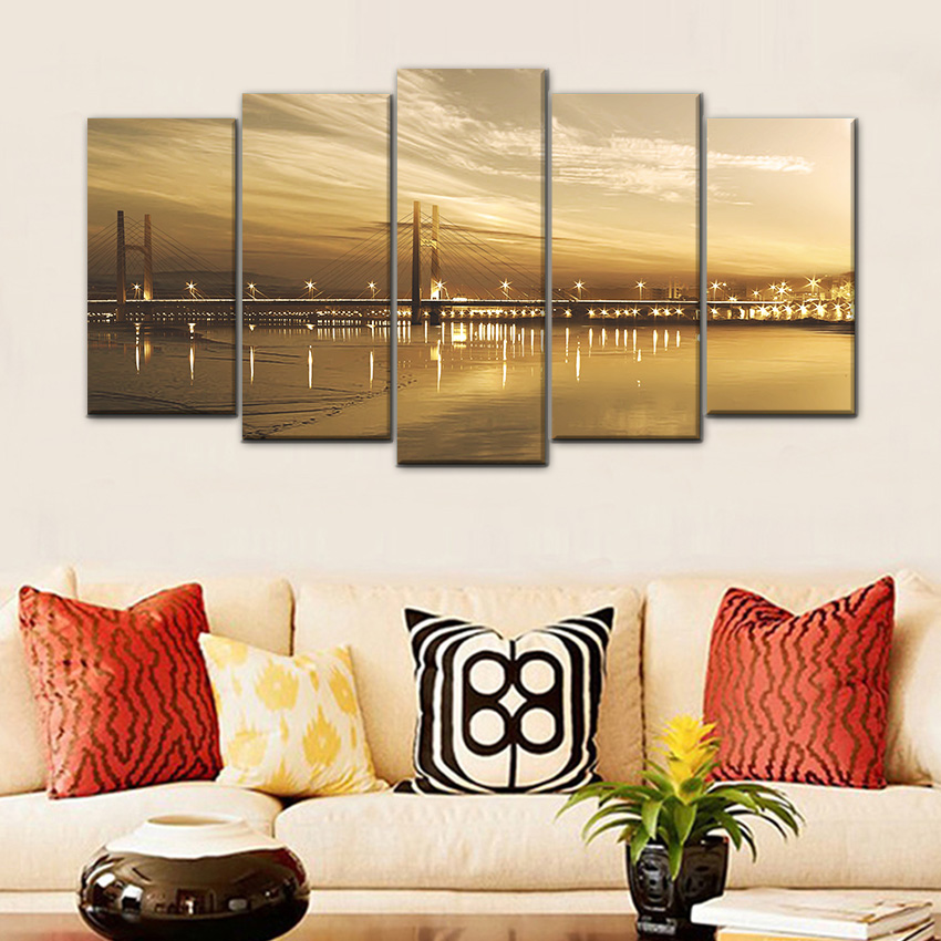 LARGE Landscape Canvas Set of 5 Panel Wall Decor Painting Urban Viaduct Night View Art Picture For Living Room Saloon Decoration