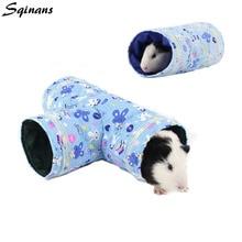 Sqinans для небольшого животного хомяка игрушка туннель 2 вида конструкций мультфильм принт морская свинка кролик гнездо кровать Pet труба кровать для белки Ежик